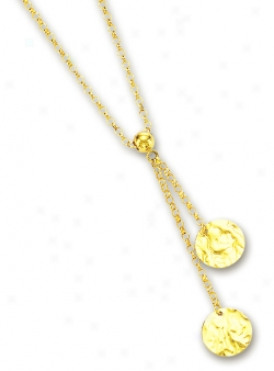14k Yellow Fashionable Circular Link Necklace - 17 Inch