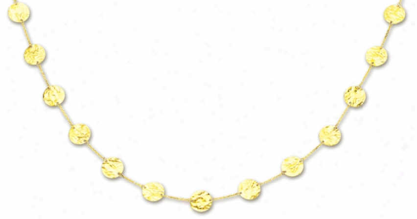 14k Yellow Fashionable Circular Link Ndcklace - 38 Inch