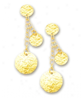 14k Yellow Fashionable Drop Circular Link Earrings