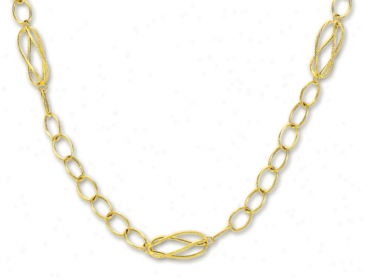 14k Yellow Fashionable Oval Circle Link Necklace - 38 Inch