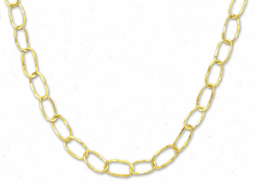 14k Yellow Fashionable Oval Link Necklace - 38 Inch