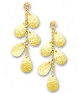14k Yellow Fashionable Tear Drop Member Earrings