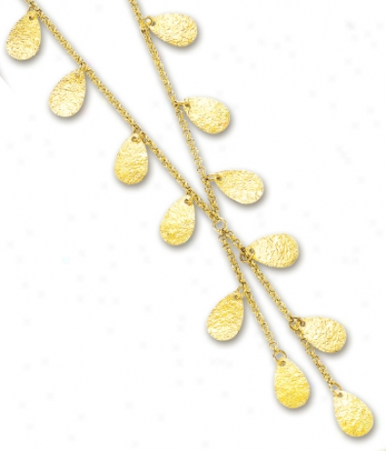 14k Yellow According to  Tear Drop Link Necklace - 17 Inch
