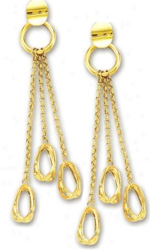 14k Yellow Fashionable Triple Distil Earrings