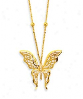 14k Yellow Filgree Butterfly Shaped Necklace - 17 Inch