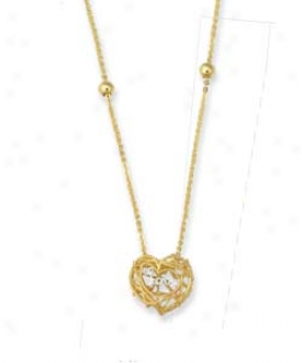 14k Golden Filgree Heart Necklace - 17 Inch