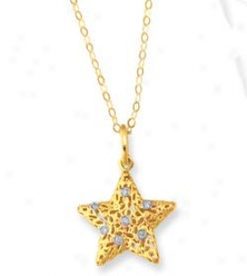 14k Yellow Filgree Star Shaped Enamel Necklace - 18 Inch