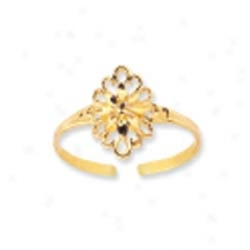 14k Yellow Filigree Flower Design Toe Ring