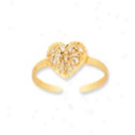14k Yellow Filigree Heart Contrivance Toe Ring
