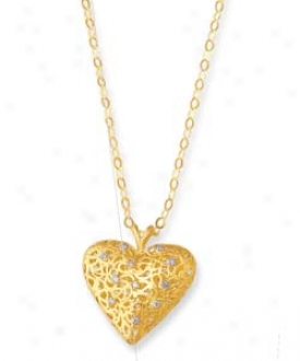 14k Yellow Filigree Heart Necklace-  18 Inch