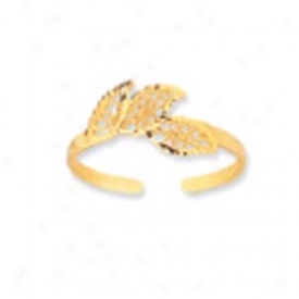 14k Yellow Filigree Leaf Design Toe Ring