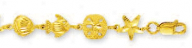 14k Yellow Fish Star And Shell Bracelet - 7 Inch
