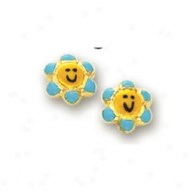 14k Yellow Flower Childrens Stud Enamel Esrrings