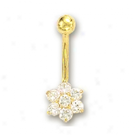 14k Yellow Flower Cubic Zirconia Bel1y Ring