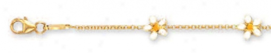 14k Yellow Flower Station Childrens Enamel Braceleg - 5.5 In