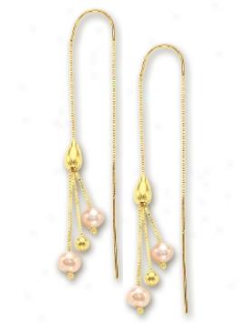 14k Yellow Freash Wate Threader Earrings