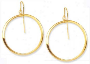 14k Yellow French Wire Hoop Earrings