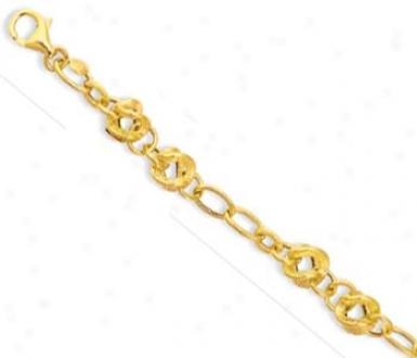 14k Yellow Geometric Link Lobster Claw Bracelet - 7.25 Inch