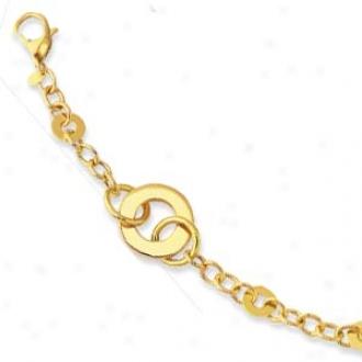 14k Yellow Geometric Link Lobster Claw Bracelet - 7.5 Inch