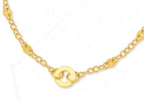 14k Yellow Geometric Link Lobster Claw Necklace - 18 Inch
