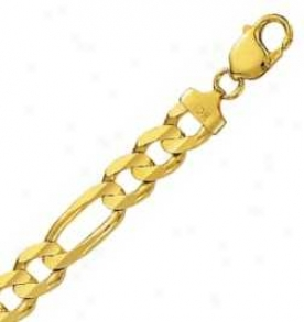 14k Yellow Gold 24 Inch X 9.6 Mm Figaro Fetter Necklace