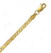 14k Golden Gold 7 Inch X 3.0 Mm Heart Chain Bracelet