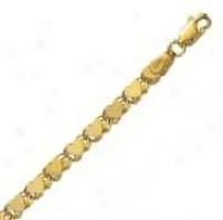 14k Yellow Gold 7 Inch X 4.0 Mm Heart Chain Bracelet