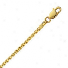 14k Yellow Gold Flat 18 Inch X 2.0 Mm Wheat Chain Nceklace
