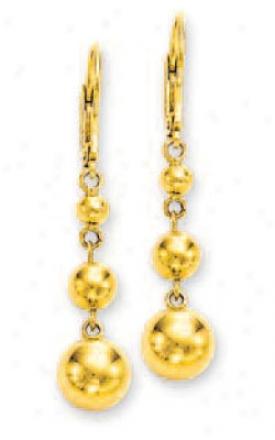14k Yellow Graduated Triple Ball Earrings