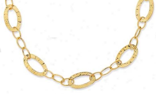 14j Yellow Hammered Design Oval Link Necklace - 38 Inch