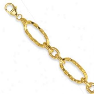 14k Golden Hammered Link Lobster Claw Bracelet - 7.25 Inch
