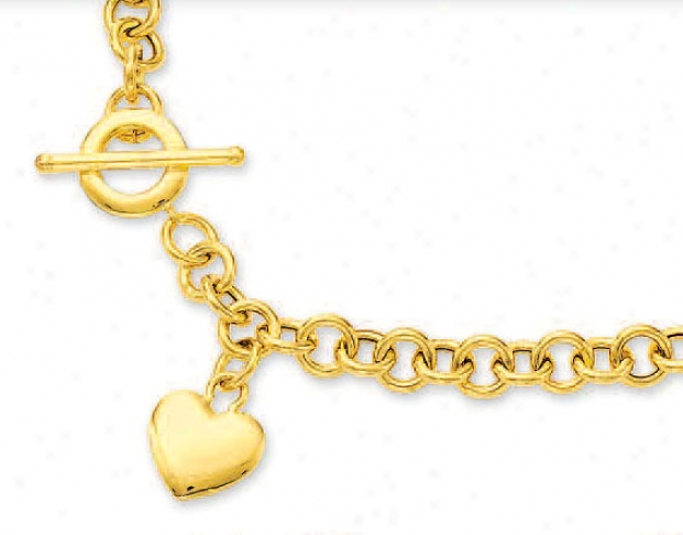 14k Yellow Heart Charm And Toggle Neclkace - 17 Inch