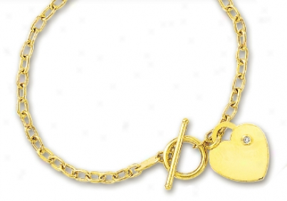 14k Yellow Heart Charm Toggle Diamond Bracelet - 7.5 Inch