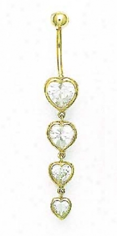 14k Yellow Heart Cz Multi-heart Belly Ring
