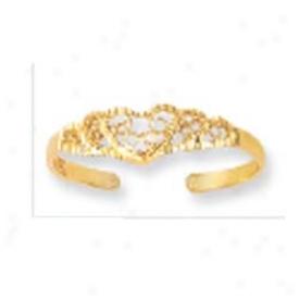 14k Yellow Heart Filigree Design Toe Ring