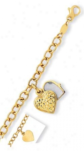 14k Yellow Heart Locket Charm Bracelet - 7.25 Inch