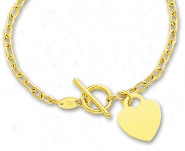 14k Yellow Heart Shaped Charm And Toggle Bracelet - 7.5 Inch