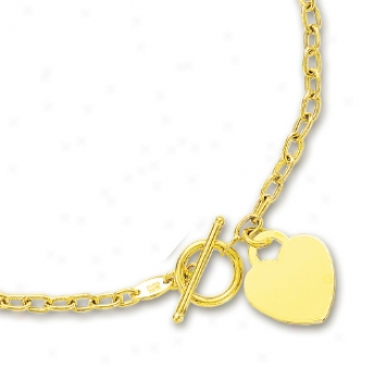 14k Yellow Heart Shaped Charm And Toggle Necklace - 17 Inch