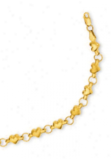 14k Golden Heart Shaped Station Bracelet - 7 Inch