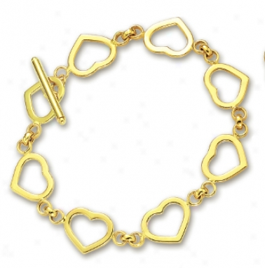 14k Yellow Heart Shaped Station Bracelet - 7.5 Inch