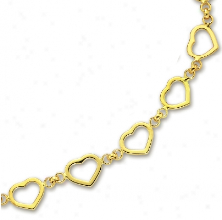 14k Yellow Heart Shaped Station Necklace - 17 Inch