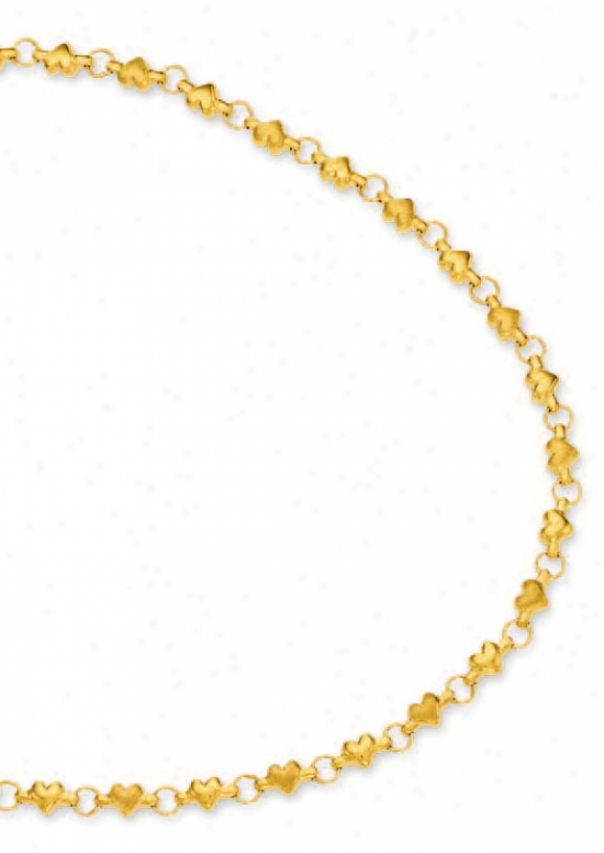 14k Yellow Heart Shaped Station Necklace - 18 Inch