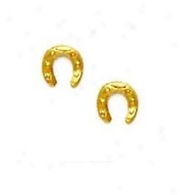 14k Yellow Horse Shoe Friction-back Post Earrings