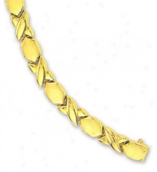14 Yellow Hugs And Kisses Bracelet - 7 Inch