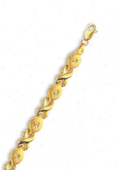 14k Yellow Hugs And Kisses D-cut Bracelet - 8 Inch