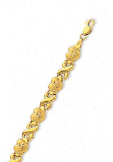 14k Golden Hugs And Kisses D-cut Heart Bracelet - 8 Inch