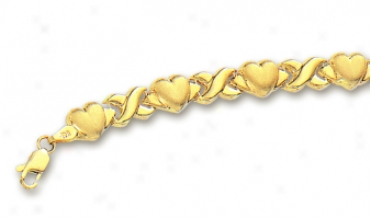 14k Yellow Hugs And Kisses Heart Bracelet - 7 Inch