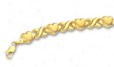 14k Yellow Hugs And Kisses Heart Bracelet - 8 Inch