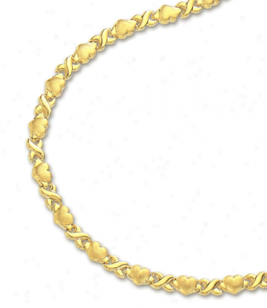 14k Yellow Hugs And Kisses Heart Necklace - 16 Inch
