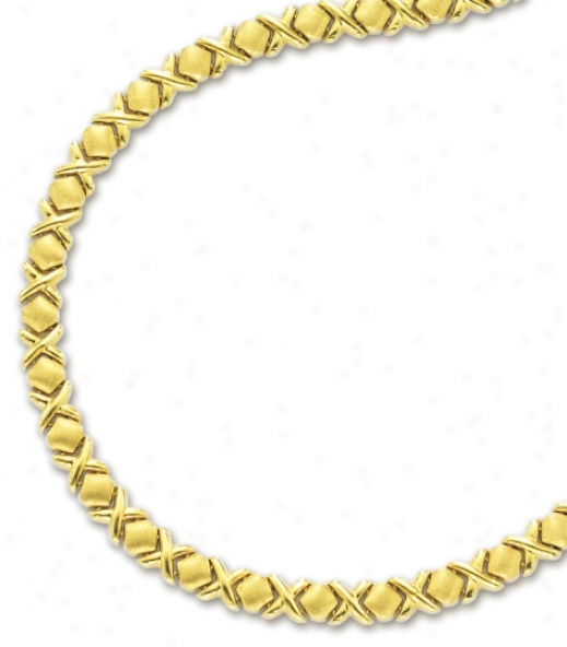 14k Yellow Hugs And Kisses Necklace - 17 Inch